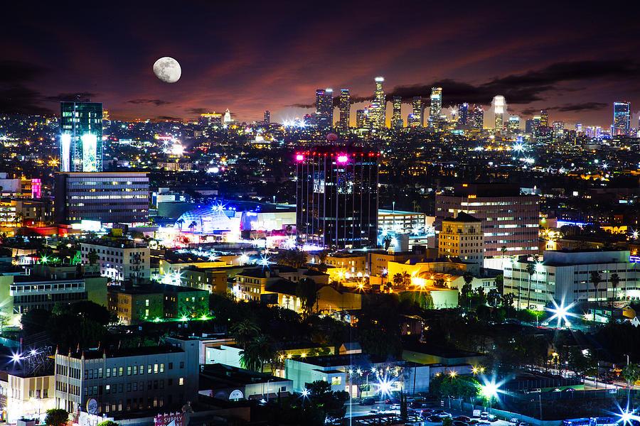 Los Angeles Photograph - Moon Over Los Angeles by Matt Cohen