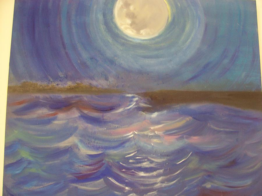 Mmon Painting - Moon Over Miami Bay by Maria Beyhaut