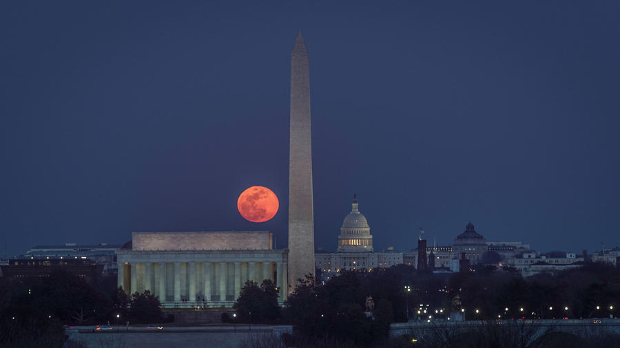 Alexandria Photograph - Moon Over Monuments by Michael Donahue