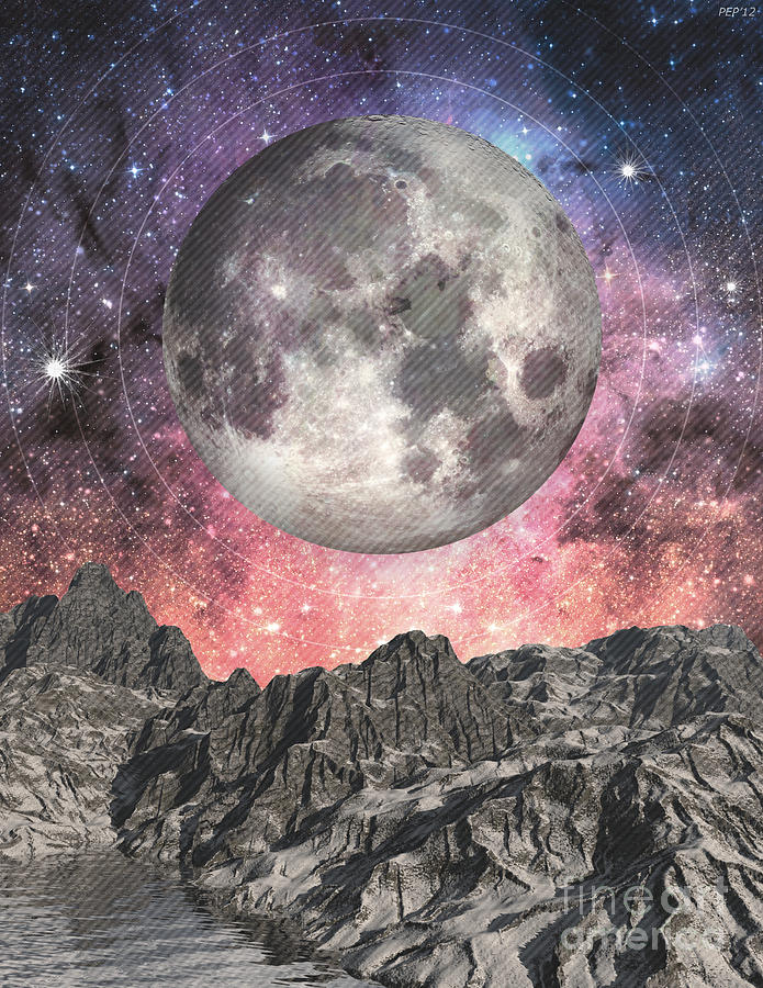 Moon Digital Art - Moon Over Mountain Lake by Phil Perkins