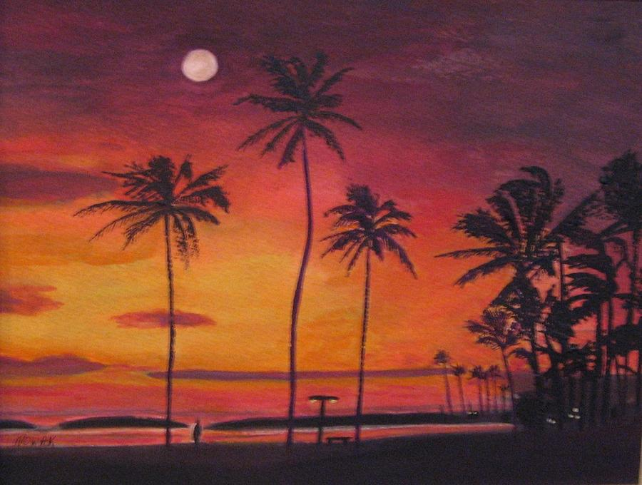 Moon Over Palm Tree Sunset Painting By Richard Nowak