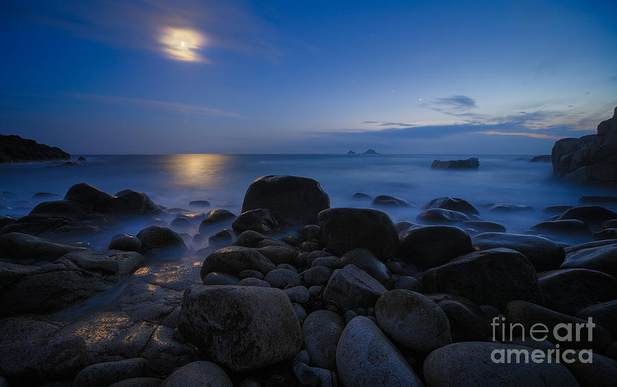 Landscape Photograph - Moon Over Rocks At The Shore by Royce Howland