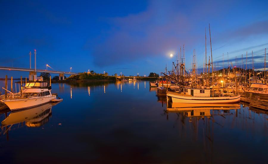 Marina Photograph - Moon Over Sitka Marina by Mike  Dawson