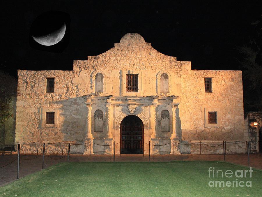 The Alamo Photograph - Moon Over The Alamo by Carol Groenen