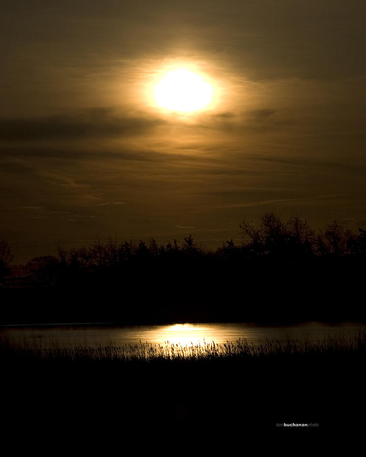Moon Photograph - Moon Over The Pond by Tom Buchanan