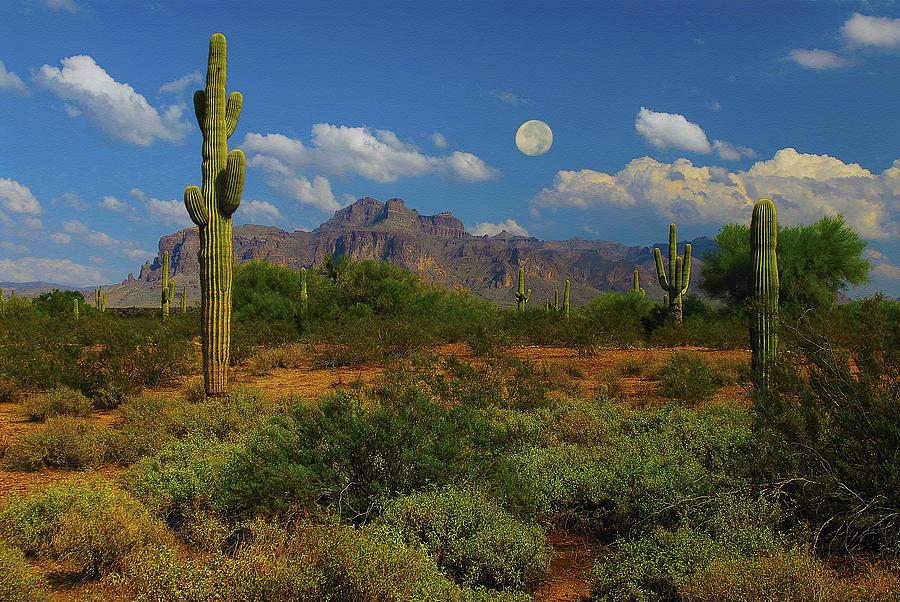 Moon. Arizona Mixed Media - Moon Over The Superstition Mtn by Brian Lambert