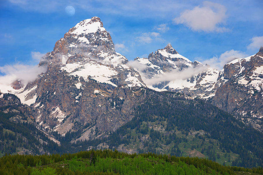 Moon Photograph - Moon Over The Tetons by Darren  White