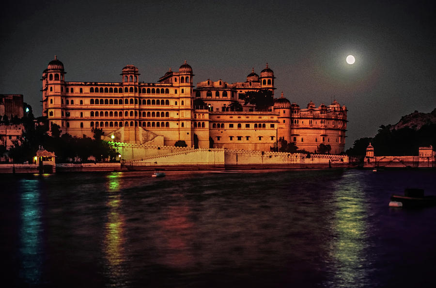 India Photograph - Moon Over Udaipur by Steve Harrington