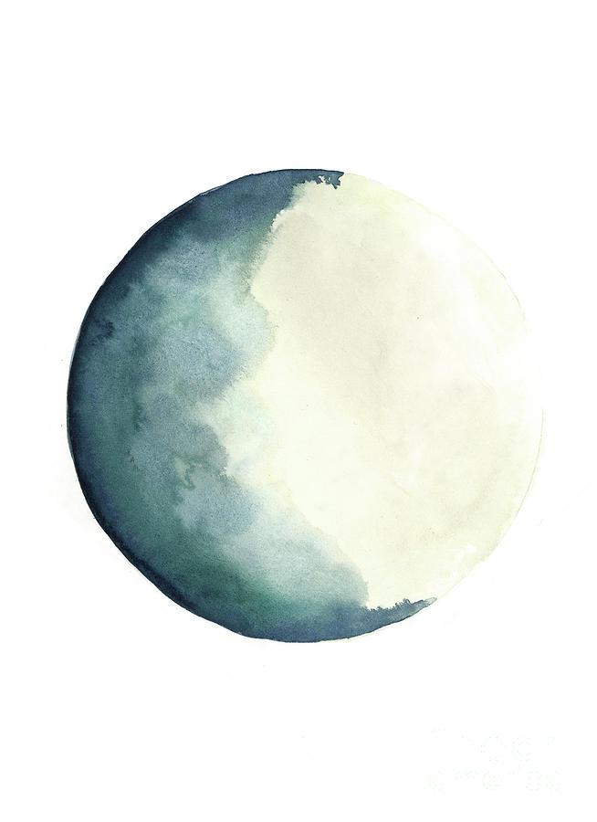 Watercolor Painting - Moon Phases Watercolour Painting, Blue Vanilla Beige Crescent Moon Art, Luna Astrology Print by Joanna Szmerdt