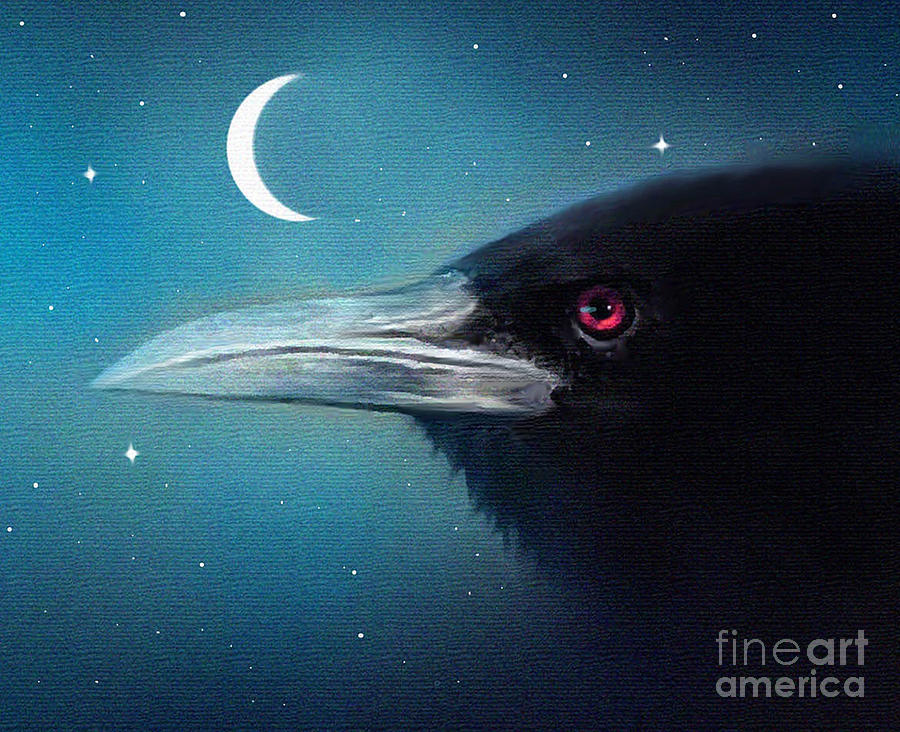 Crow Painting - Moon Raven by Robert Foster