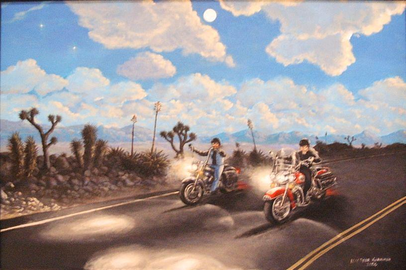 Motorcycle Painting - Moon Ride by Leif Thor Kvammen