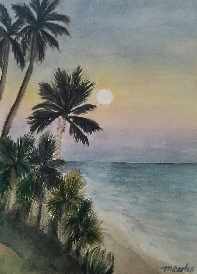Moon Rise - Butterfly Beach by M Carlen