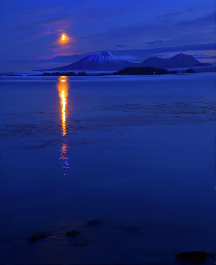 Mt. Edgecumbe Photograph - Moon Rise Over Mt. Edgecumbe by Mike  Dawson
