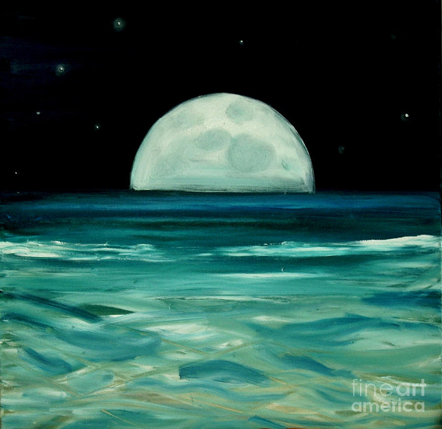 Moon Painting - Moon Rising by Caroline Peacock