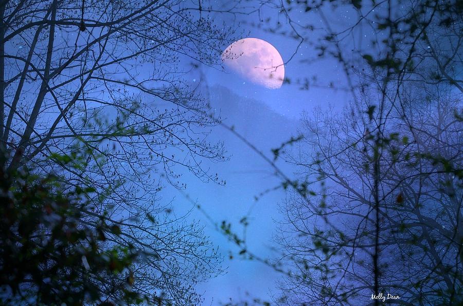 Moon Photograph - Moon Rising Over Mountain by Molly Dean