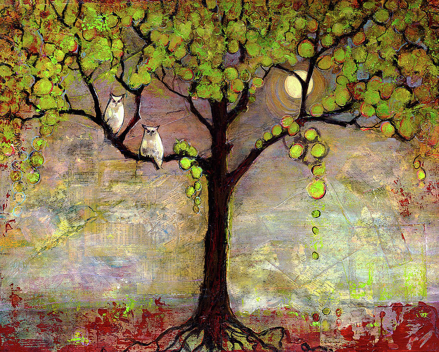 Moon River Tree Owls Art Painting