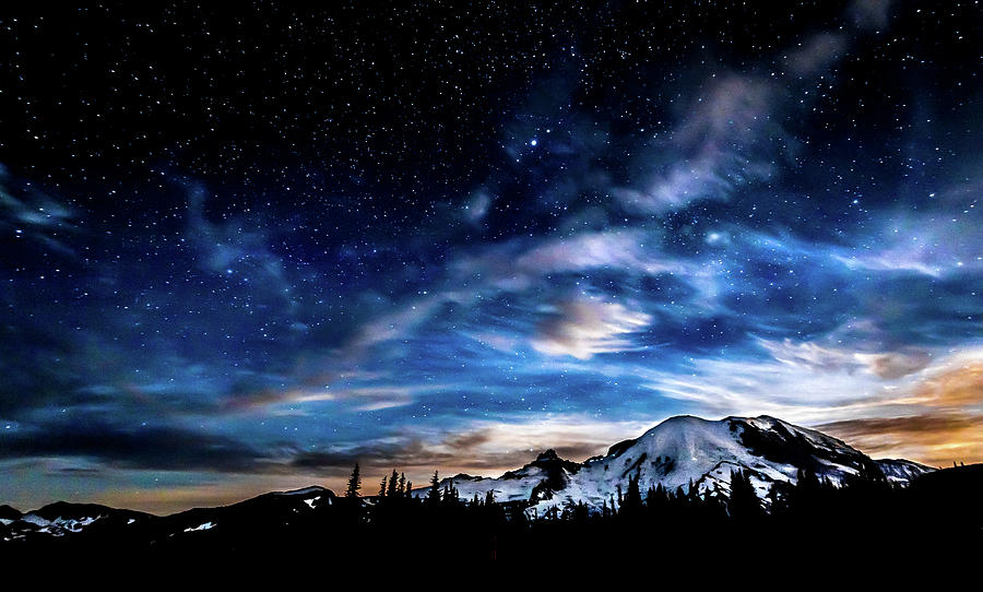 Moon Setting Behind MT Rainier  by Rob Green
