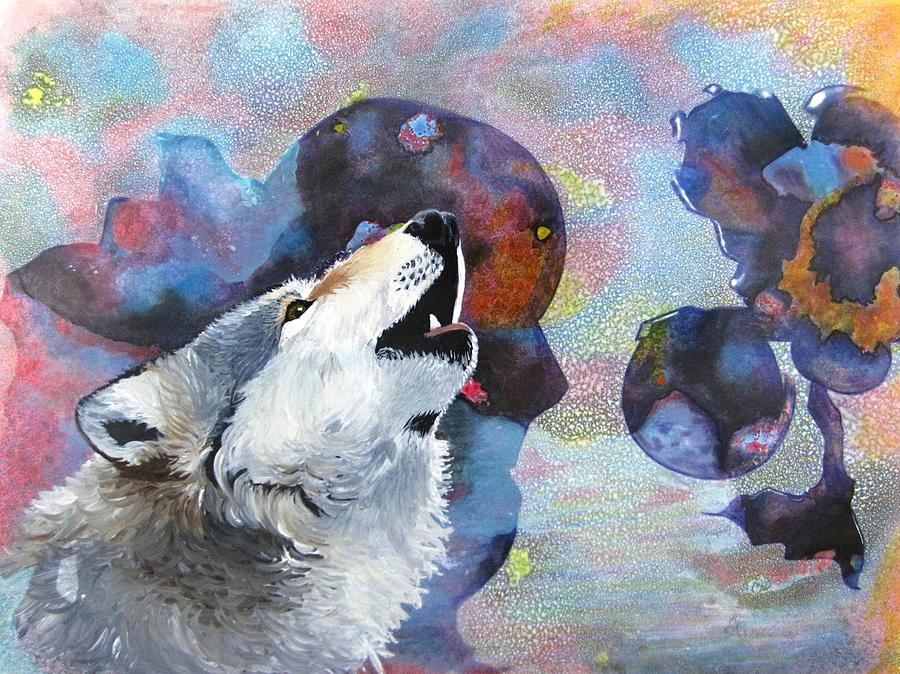 Wolf Painting - Moon Song by David Raderstorf