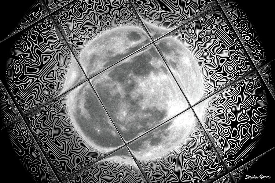 Moon Digital Art - Moon Tile Reflection by Stephen Younts