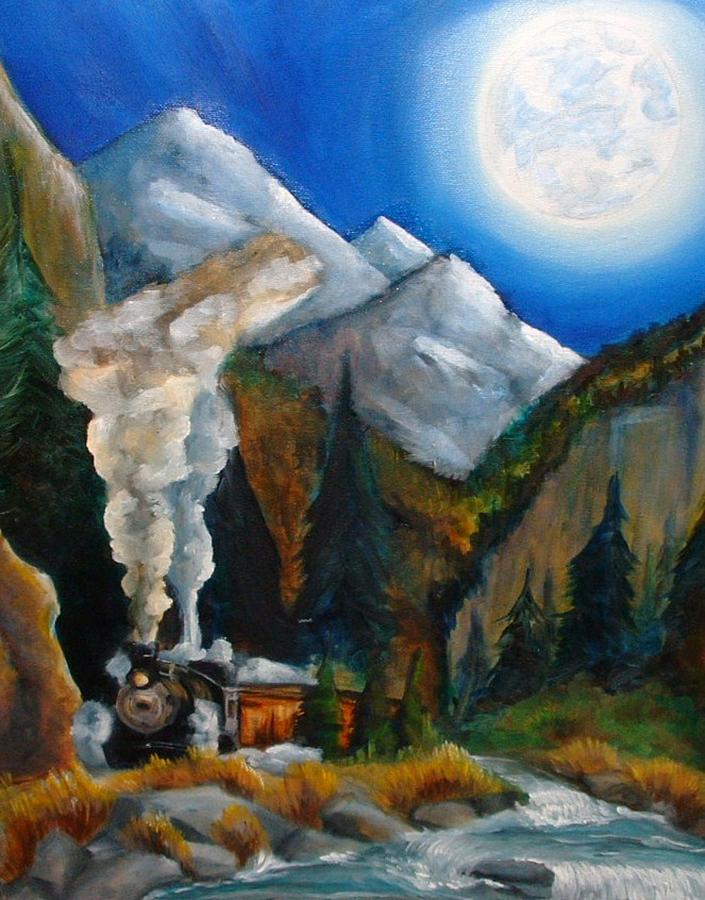 Train Painting - Moon Train  by Andrea  Darlington