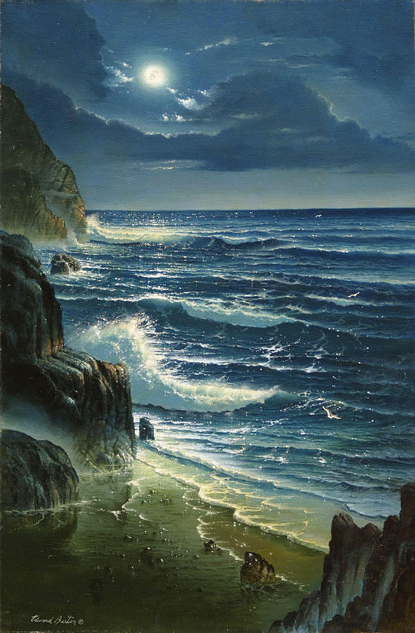 Seascape Painting - Moon Watch by Edward Barton