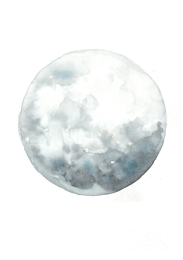 Moon Painting - Moon watercolor art print painting by Joanna Szmerdt