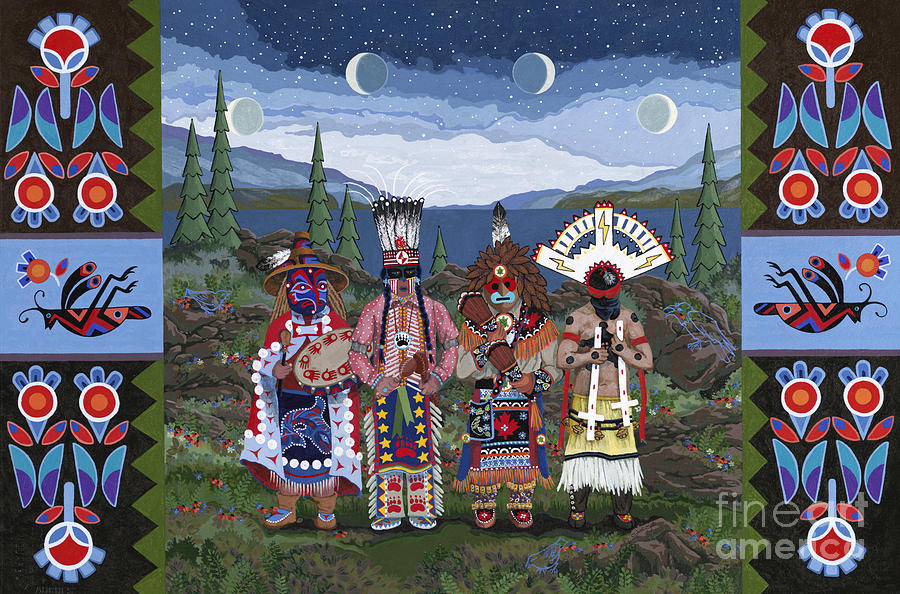 Native American Men Painting - Moon When The Men Get Ready by Chholing Taha