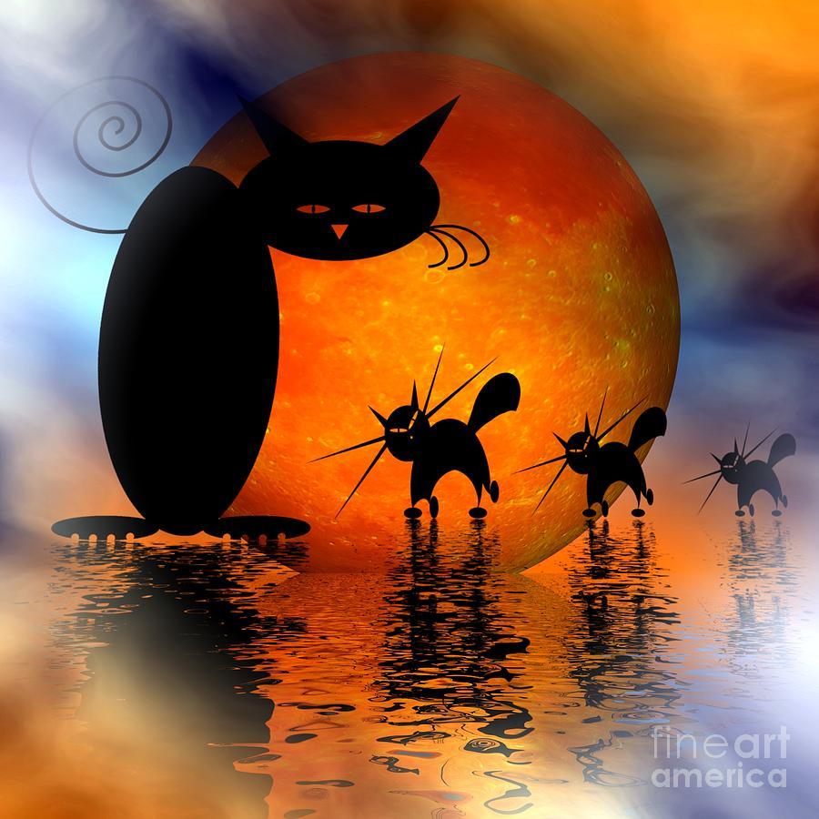 Mooncat Digital Art - Mooncats Catwalk by Issabild -