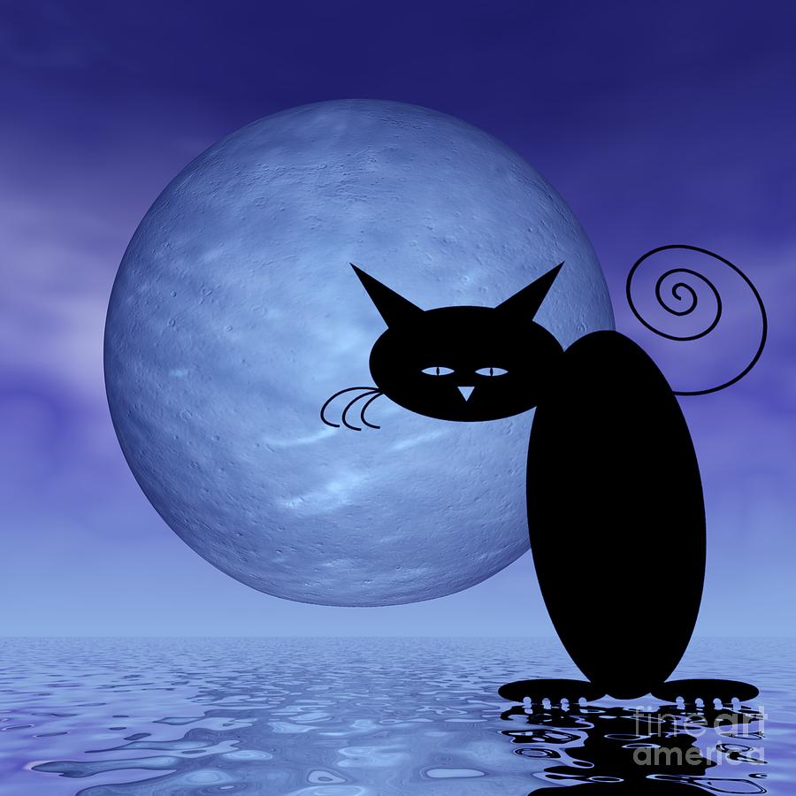 Mooncat Digital Art - Mooncats Loneliness by Issabild -