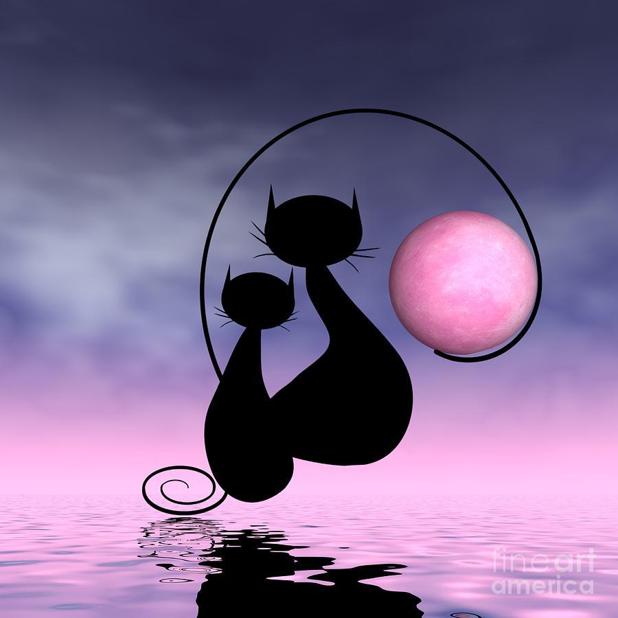 Mooncat Digital Art - Mooncats Love by Issabild -
