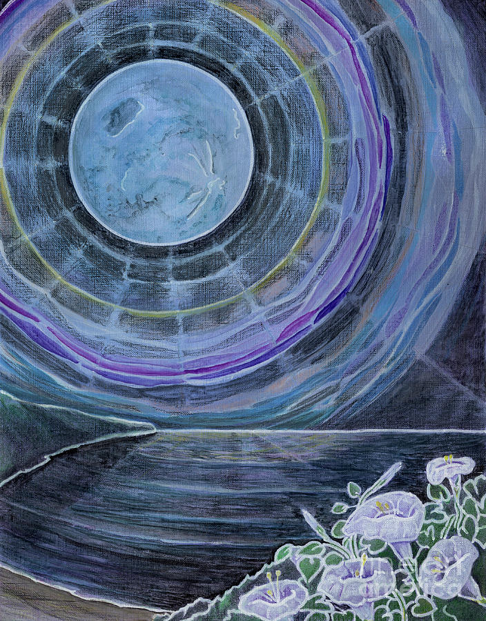 Moon Painting - Moonflowers on the Supermoon by Amelia at Ameliaworks