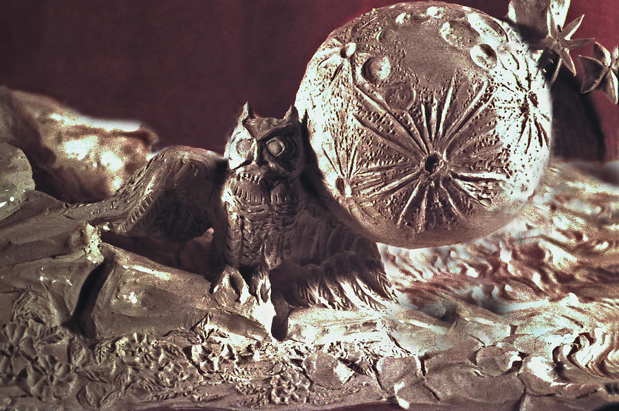 Mystical Sculpture - Moonhorse Detail Owl And Moon by Dawn Senior-Trask