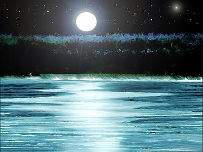 Ocean Digital Art - Moonlight by Aline Pottier  Gama Duarte