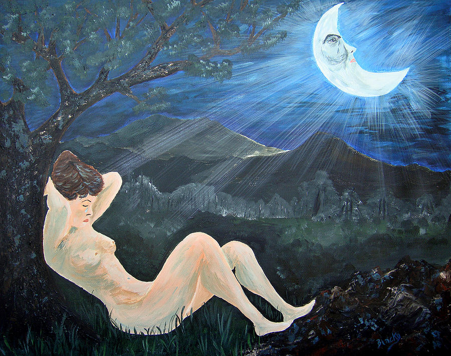 Woman Painting - Moonlight And Sorrow by Donna Blackhall
