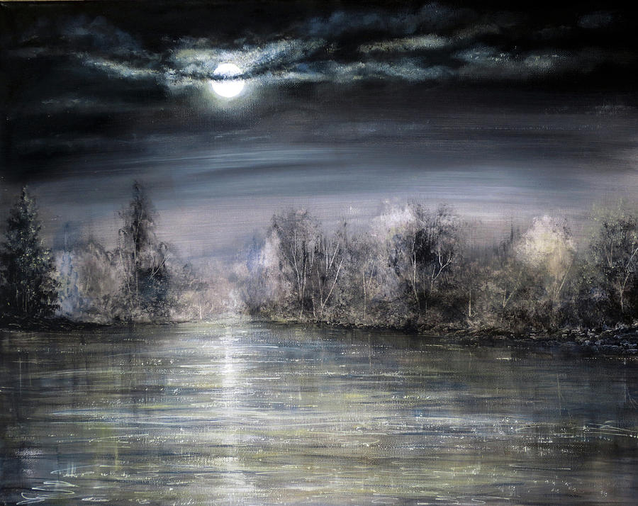 Hand Painted Painting - Moonlight by Ann Marie Bone