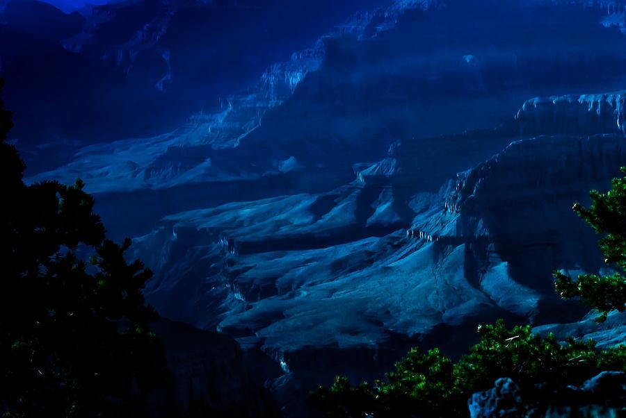 Grand Canyon Painting - Moonlight At Grand Canyon by Dr Bob Johnston