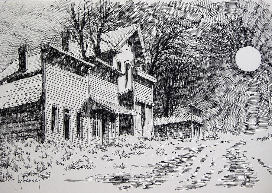 Ghost Town Drawing - Moonlight Bannack Ghost Town Montana by Kevin Heaney
