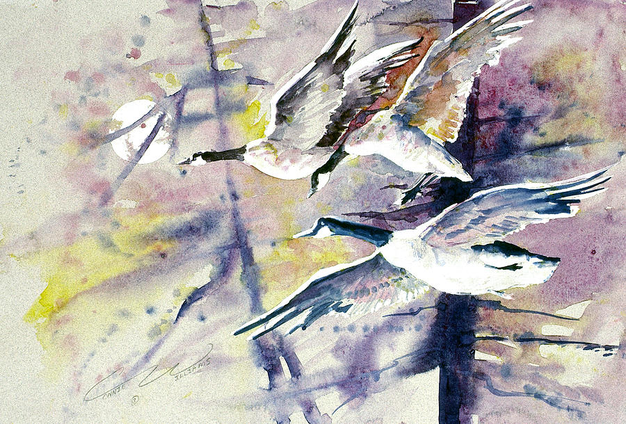 Moon Painting - Moonlight Canadian Geese by Connie Williams