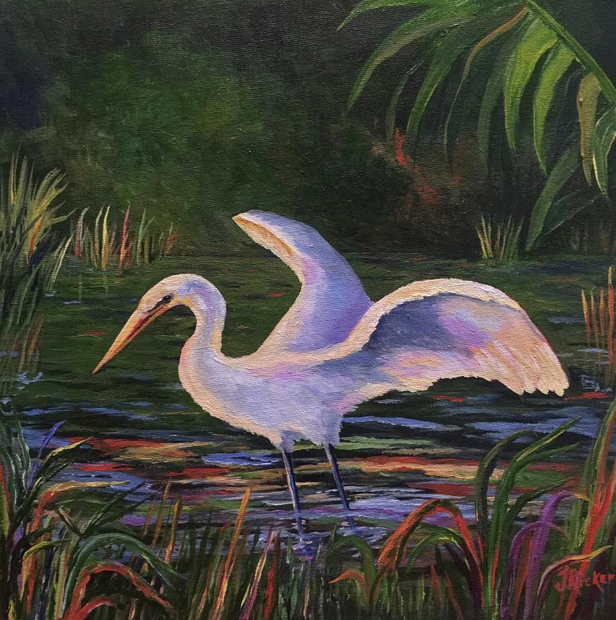 Moonlight Egret by Jane Ricker
