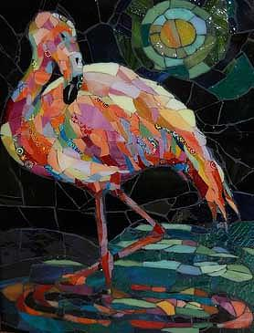 Flamingo Mixed Media - Moonlight Flamingo by Carol Shelkin
