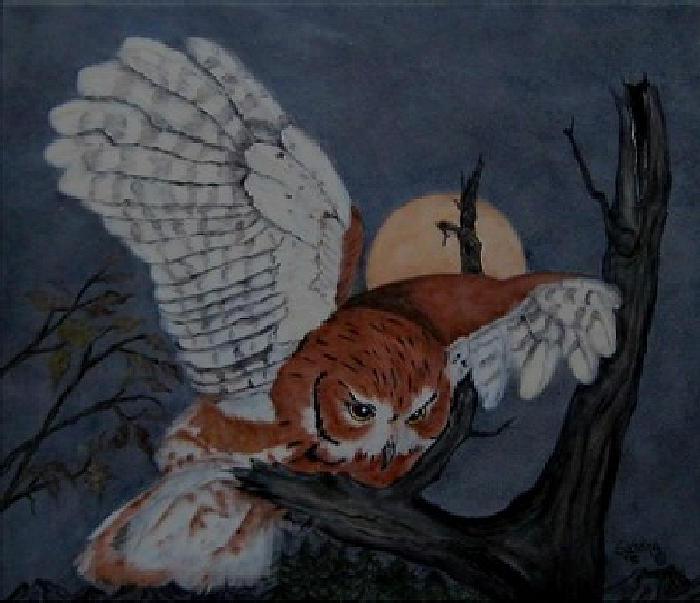 Western Screech Owl Ceramic Art - Moonlight Flight by Sandra Maddox