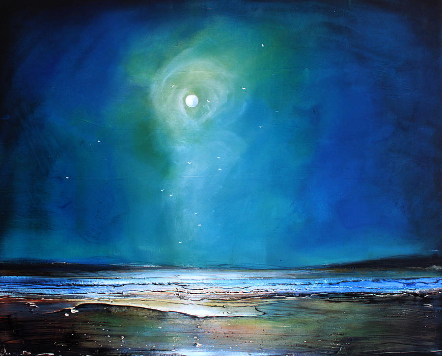 Art Shower Curtain Painting - Moonlight Flyby by Toni Grote