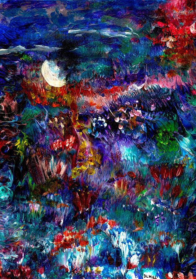 Moon Painting - Moonlight Gardens Winter by Leigh Anna Kay