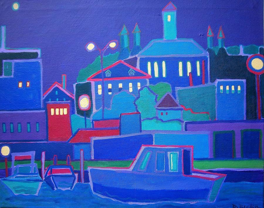 Water Painting - Moonlight Harbor by Debra Bretton Robinson
