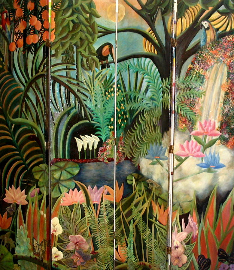 Magical Landscape Painting - Moonlight Jungle by Rebecca  Both