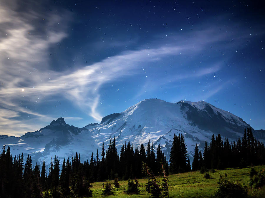 Moonlight on MT Rainier by Rob Green