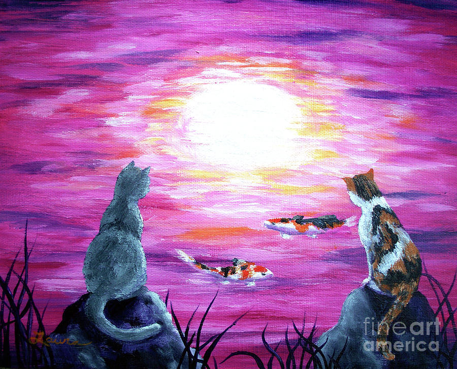 Zen Painting - Moonlight On Pink Water by Laura Iverson