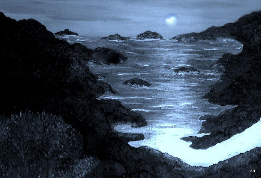 Moonlight Painting - Moonlight On The Coast by Sherris - Of Palm Springs