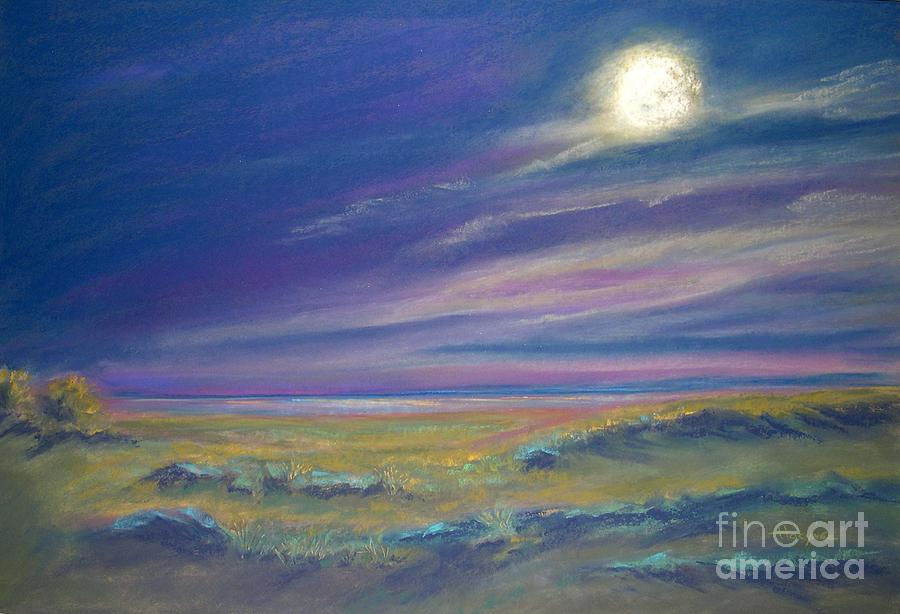 Moonlight Painting - Moonlight On The Dunes by Addie Hocynec