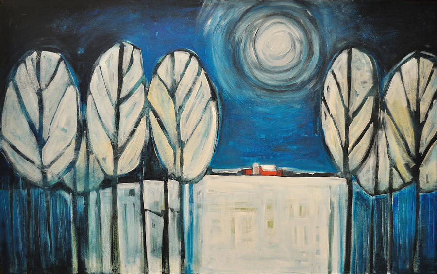 Landscape Painting - Moonlight On The First Snow by Tim Nyberg